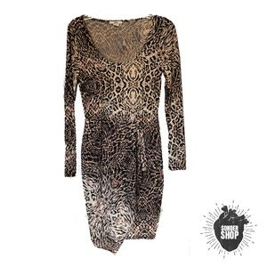 Bar III Leopard Print Fitted Wrap Dress